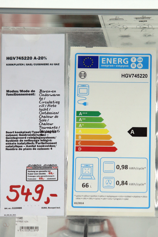 Image of a BER rating on a price of a household appliance